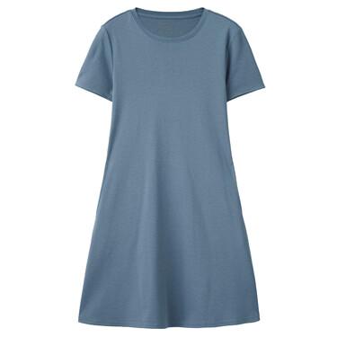 Fishtail hem crewneck short-sleeve dress