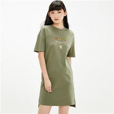 Printed longer hem at back loose dress