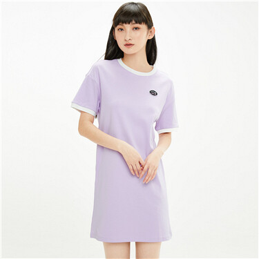Contrast lines cotton t-shirt dress