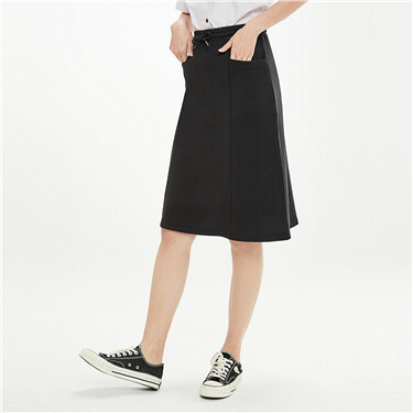 Elastic waistband with drawstring skirt