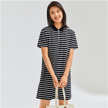 Stripe loose stretchy polo dress