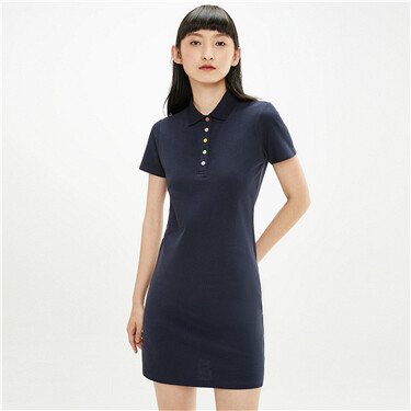 Stretchy slim polo dress