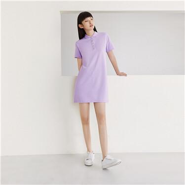 Stretchy loose plain polo dress