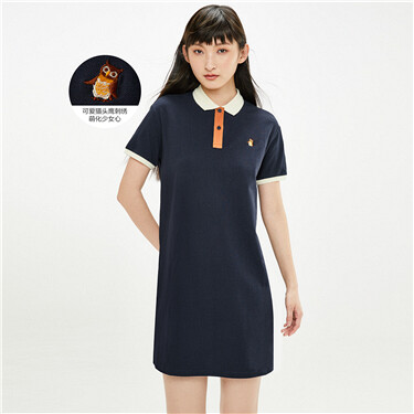 Embroidery contrast polo dress