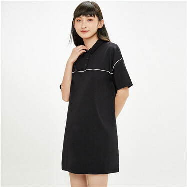 Contrast loose dropped-shoulder polo dress