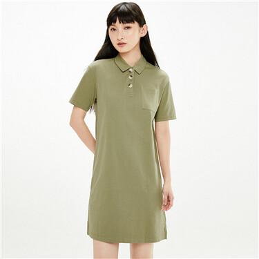 Cotton single patch pocket polo dress