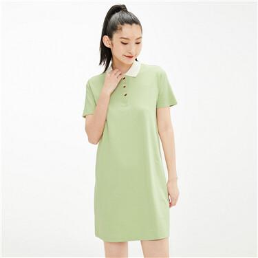 Contrast color stretchy A line polo dress
