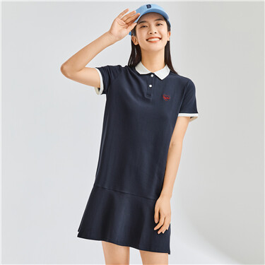 Lotus hem embroidery stretchy polo dress