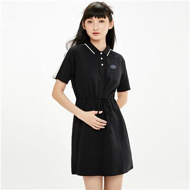 Contrast raglan sleeves banded waist polo dress