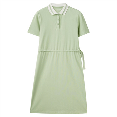 Elastic waistband with drawstring contrast color collar polo dress