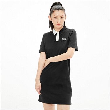 Asymmetrical contrast embroidery polo dress