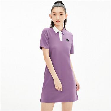 不对称撞色领绣章POLO连衣裙