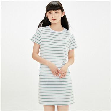 Stretchy stripe single patch pocket dress