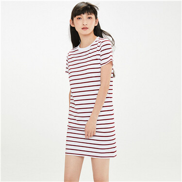 Stretchy stripe single patch pocket dress