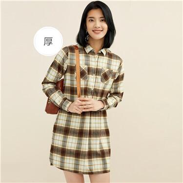 Thick flannel plaid shirt dress