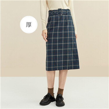 法兰绒纯棉格子配腰带半身裙