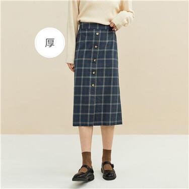 Flannel plaid half elastic waist skirt