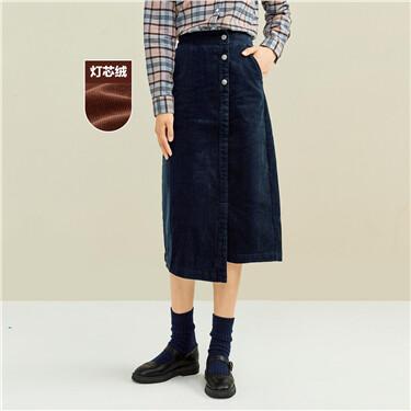 Corduroy asymmetrical mid-long skirt