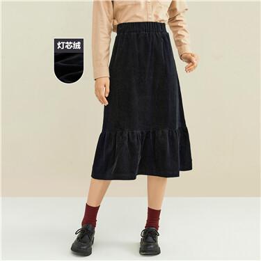 Corduroy lotus hem elastic waist skirt