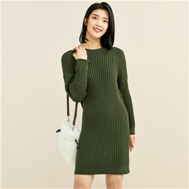 Dropped-shoulder twill crewneck knitted dress