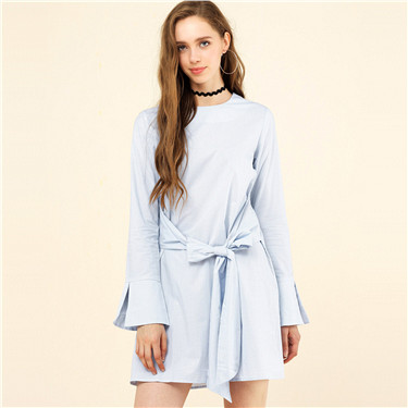 Flare sleeve checkers dress