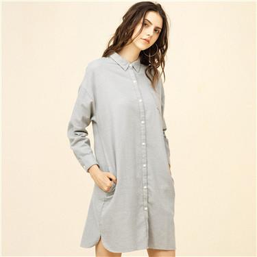 法兰绒纯棉单标袋宽松衬衫连衣裙