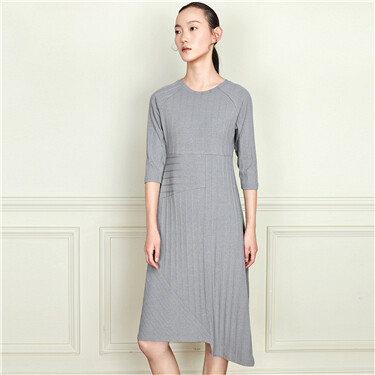 Seven-quarter sleeve irregularly tailed dress