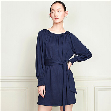 Lace-up crewneck long-sleeve dress