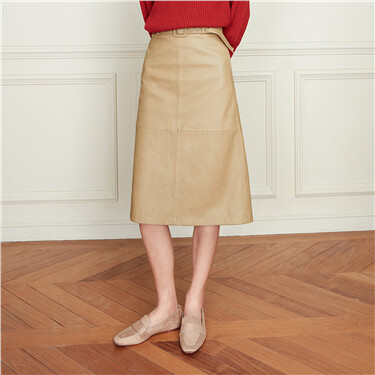 Solid waistband knee-length skirt