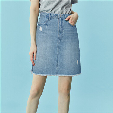 Sanded rough edge denim skirt
