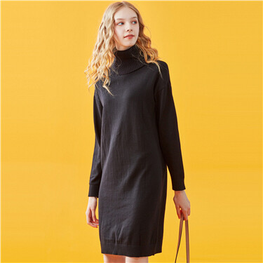 Turtle neck knitted dress