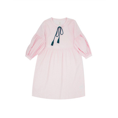 Drawstring puff sleeve linen cotton dress