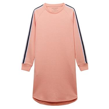 Contrast-colored raglan sleeve sweatshirt dress