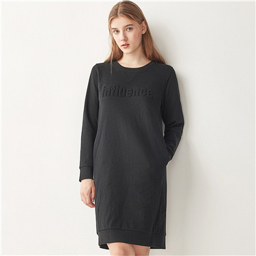 Embossed letter sweatshirt dress