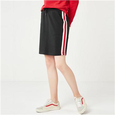 女裝織帶條紋運動及膝短裙