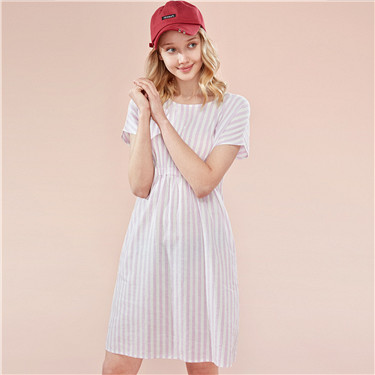 Linen-cotton crewneck loose dress