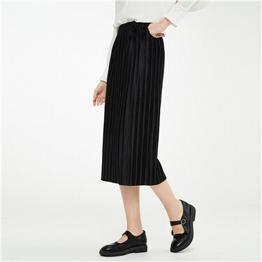 Chiffon mid rise pleated skirt