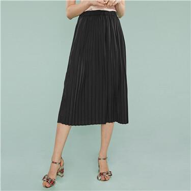 Chiffon mid rise pleated skirt