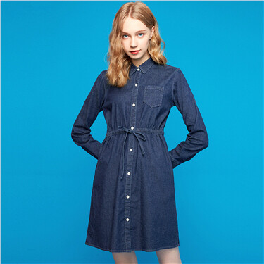 Banded-waist stretchy denim dress