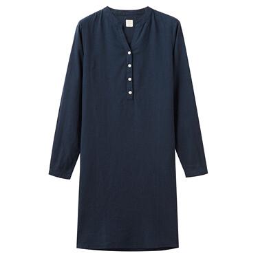 Women Linen/Cotton Poplin Crewneck Long Sleeve Regular Half Placket Dress
