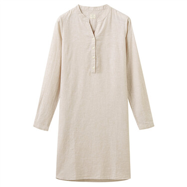 Women Linen/Cotton Poplin Crewneck Long Sleeve Regular Half Placket Dress