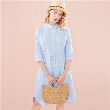 Linen-cotton banded-waist shirt dress