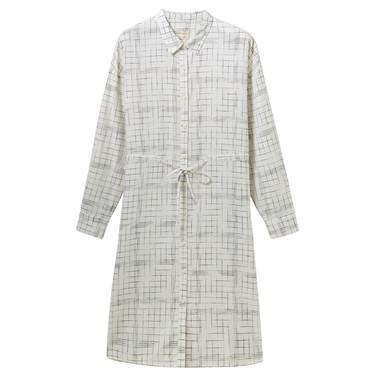 天然麻棉束腰襯衫連衣裙