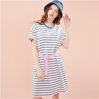 Embroidered badge striped cotton dress