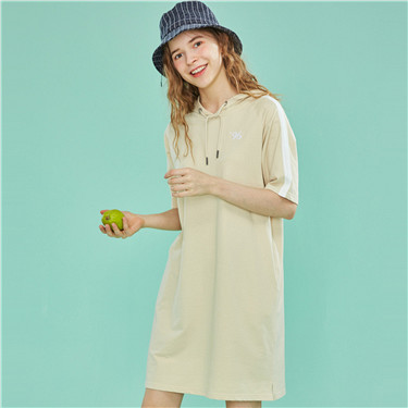 Cotton embroidered hoodie dress