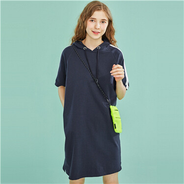 Cotton contrast-color hoodie dress