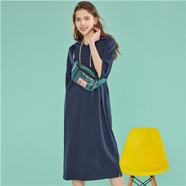 Drawstring cotton hoodie dress