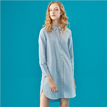 Thick cotton long-sleeve shirt dress