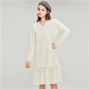 V-neck chiffon stitching knitted dress
