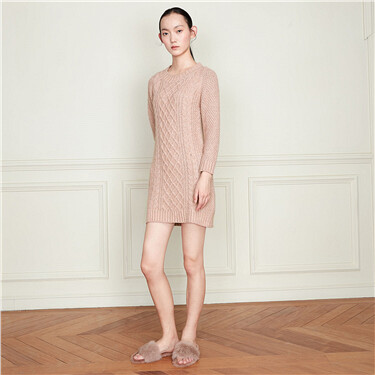 Wool blended long-sleeve knitted dress